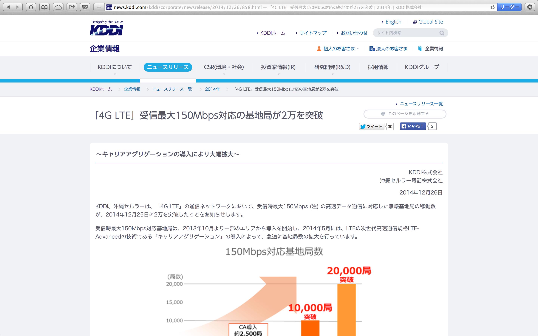 「4G LTE」受信最大 150Mbps 対応の基地局が 2万を突破