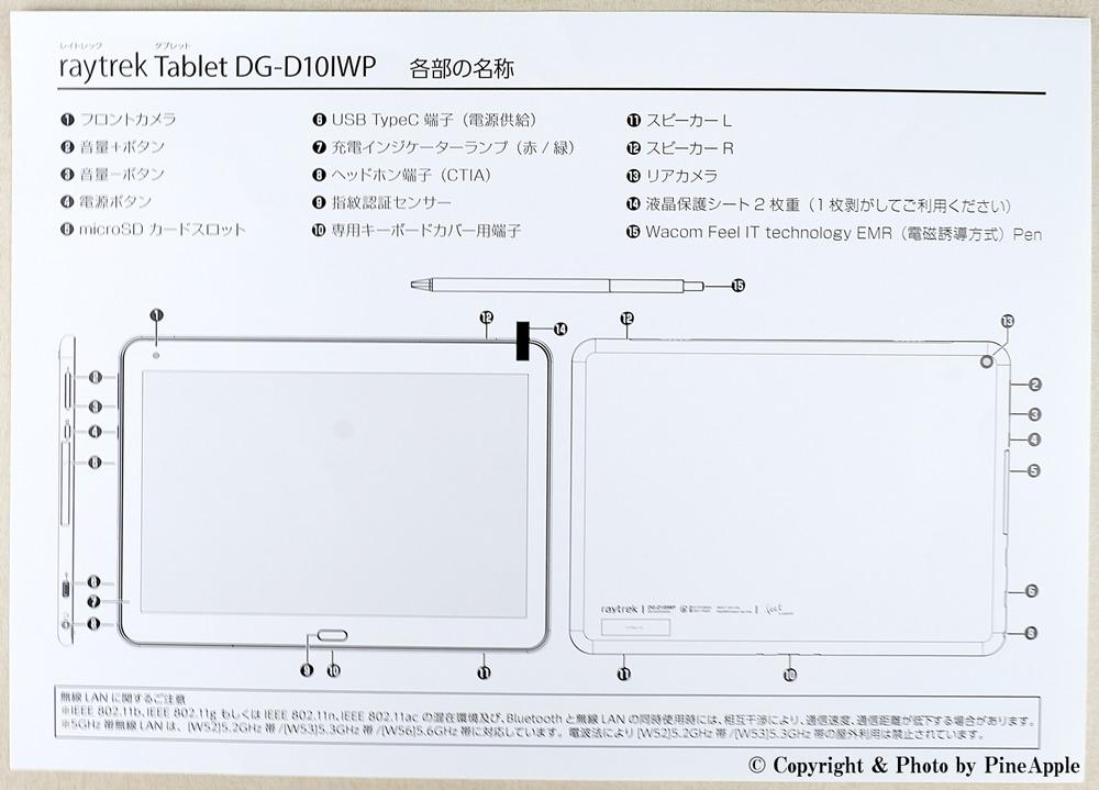 raytrektab DG - D10IWP:各部の名称