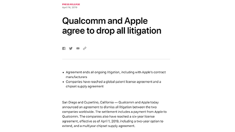 Qualcomm and Apple agree to drop all litigation - Apple