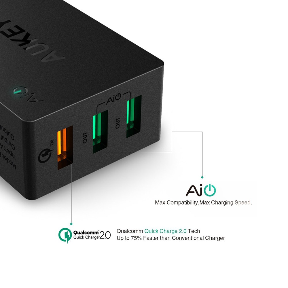 AUKEY 42W 3 Port USB Desktop Wall Charger Compatible with Qualcomm Quick Charge 2.0
