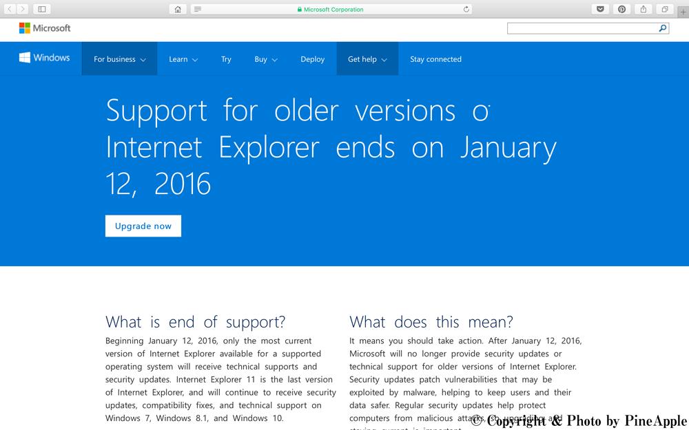 Internet Explorer End of Support