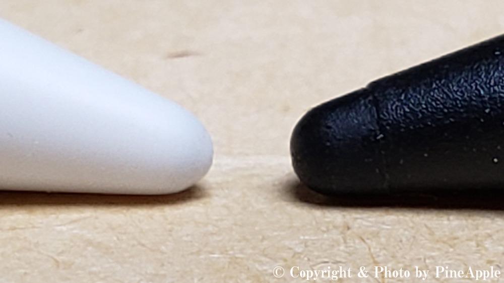 左:純正 Apple Pencil 用替え芯   右「BM - APRPSIN」用芯