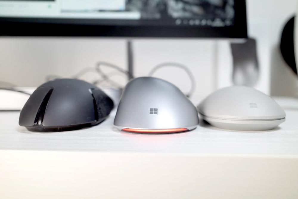 Logitech G502(左) Pro IntelliMouse(中) Surface マウス(右)