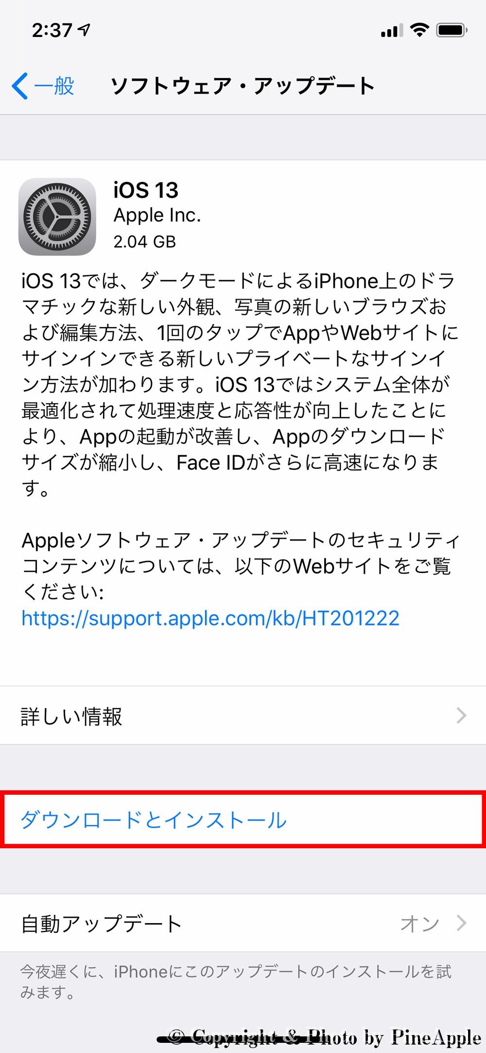 iOS 13:設定>一般>ソフトウェアアップデート