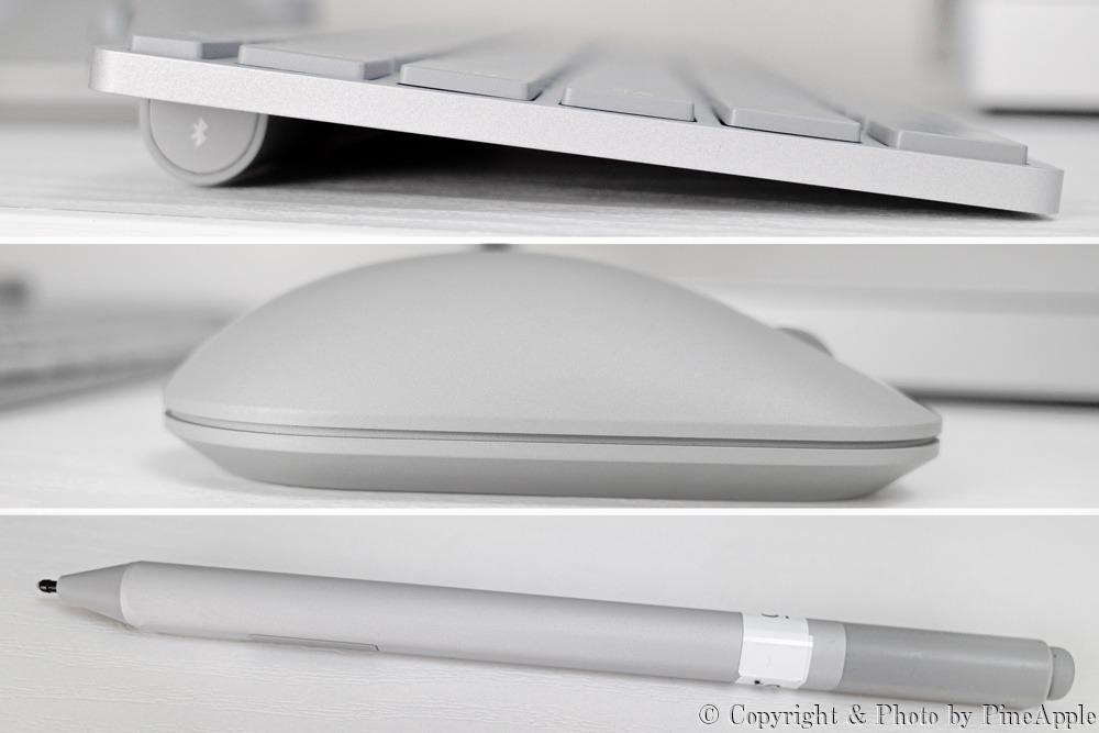 Surface Studio 2:Surface キーボード(上)、Surface マウス(中)、Surface ペン(下)