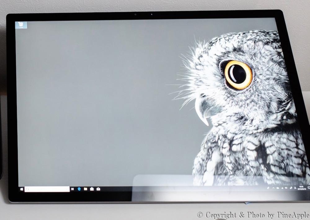 Surface Studio 2:ライトの映りこみ加減