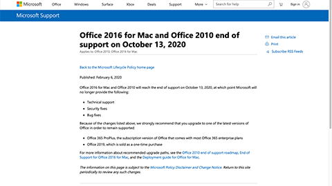 Office 2016 for Mac and Office 2010 end of support on October 13, 2020