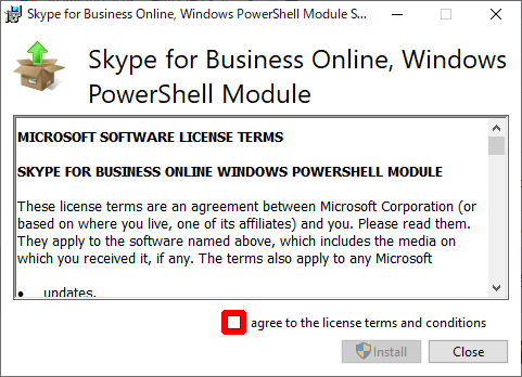 """SkypeOnlinePowershell.exe:""""I agree to to the license terms and conditions"""" をクリックし、チェックを入れて、[Install] をクリック"""