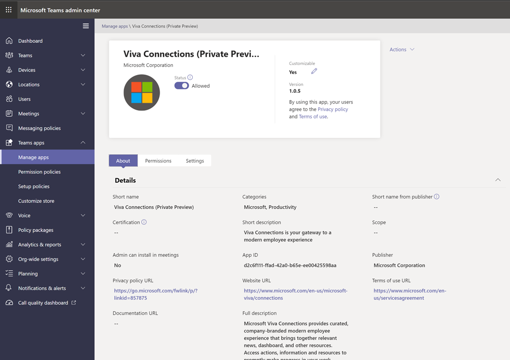 Viva Connections (Private preview) app visible in Teams - MC276017